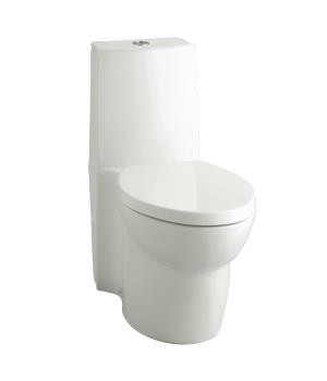 Saile® skirted one-piece elongated dual-flush toilet with top actuator and Saile Quiet-Close™ toilet seat- K-3564-0