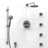 Riobel Pallace ¾ '' double coaxial thermostatic pressure balance system with hand shower rail, 4 body jets and shower head- KIT#483PATMC