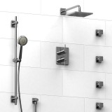 Riobel Pallace ¾ '' double coaxial thermostatic pressure balance system with hand shower rail, 4 body jets and shower head- KIT#483PATQC