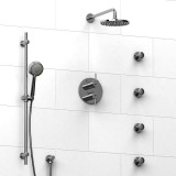 Riobel VS ¾ '' double coaxial thermostatic pressure balance system with hand shower rail, 4 body jets and shower head- KIT#483VSTMC