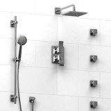 Riobel Zendo ¾ '' double coaxial thermostatic pressure balance system with hand shower rail, 4 body jets and shower head- KIT#483ZOTQC