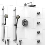 Riobel Pallace ¾ '' double coaxial thermostatic pressure balance system with 2 hand shower rails, 4 body jets and shower head- KIT#783PATMC