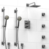 Riobel Pallace ¾ '' double coaxial thermostatic pressure balance system with 2 hand shower rails, 4 body jets and shower head- KIT#783PATQC
