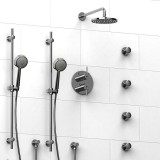 Riobel VS ¾ '' double coaxial thermostatic pressure balance system with 2 hand shower rails, 4 body jets and shower head- KIT#783VSTMC