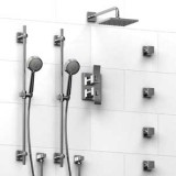 Riobel Zendo ¾ '' double coaxial thermostatic pressure balance system with 2 hand shower rails, 4 body jets and shower head- KIT#783ZOTQC